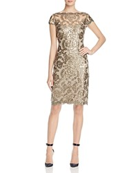 Tadashi Shoji Cap Sleeve Sequin Embroidered Dress Smoke Pearl
