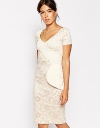Hybrid Athena Lace Dress With Frill Wrap Detail Creamblack