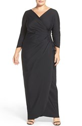 Alex Evenings Plus Size Women's Embellished Side Ruched Jersey Gown Black