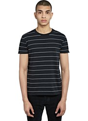 Saint Laurent Crew Neck Striped T Shirt Black