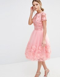 Chi Chi London Midi Dress With 3D Floral Applique Bridal Rose Pink