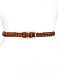 Gucci Square Buckle Skinny Braided Belt Brown