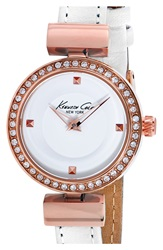 Kenneth Cole Crystal Bezel Watch 28Mm White Rose Gold