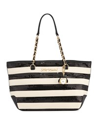 Betsey Johnson Sequin Love Striped Tote Bag Black Whit