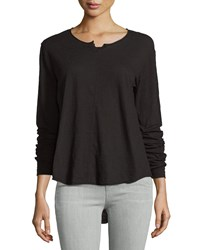 Jethro Split Neck Flutter Hem Top Black