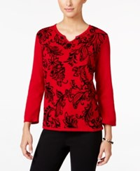 Alfred Dunner Petite Wrap It Up Flocked Sweater Red