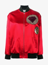 Saint Laurent Glitter Patch Embellished Bomber Jacket Red Multi Coloured Black