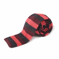 Nick Bronson Knitted Silk Stripe Tie Raspberry Wine Charcoal