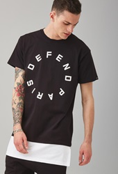 Forever 21 Defend Paris Graphic Layered Tee Black White