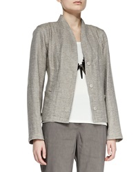 Eileen Fisher Organic Basketweave 3 Button Jacket Petite