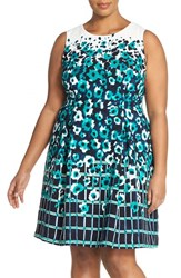 Plus Size Women's Adrianna Papell Watercolor Print Crepe Fit And Flare Dress