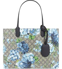 Gucci Gg Blooms Reversible Leather Tote Blue Navy