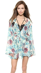 For Love And Lemons Naughty Robe Blue Floral