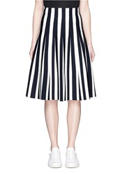 Alexander Wang Stripe Ponte Knit Flare Skirt Multi Colour