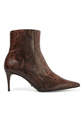 Schutz Snake Effect Leather Ankle Boots Black