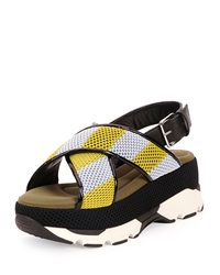Marni Striped Crisscross Platform Sandal Diamond Lemon
