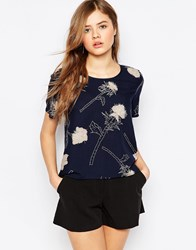 Pieces Thistle Printed Blouse In Black Blue