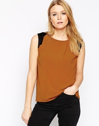 Y.A.S Sleeveless Top With Black Colourblock Shoulder Detail