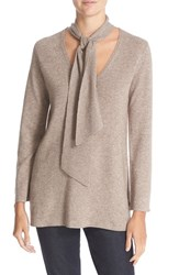 Joie Women's 'Delores' Wool And Cashmere Tie Neck Sweater Heather Mushroom