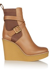 Chloe Leather Wedge Boots Tan