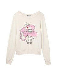Wildfox Couture Wildfox Call Don't Text Baggy Beach Jumper White