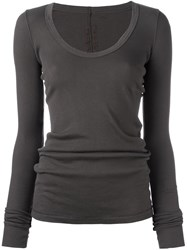 Rick Owens Drkshdw Scoop Neck Longsleeved Blouse Grey