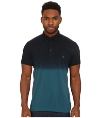 French Connection Wembly Dip Dye Polo Mermaid Marine Blue Men's Clothing