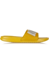 Nike Milan Benassi Jdi Print Embroidered Leather And Foam Slides
