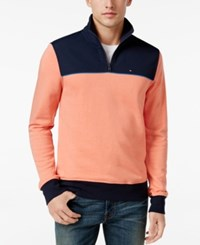 Tommy Hilfiger Men's Two Tone Quarter Zip Terry Sweatshirt Burnt Coral