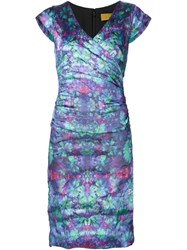 Nicole Miller Draped Fitted Print Dress Multicolour