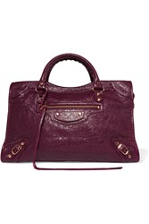 Balenciaga Classic City Textured Leather Tote Plum