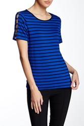 Cable And Gauge Button Shoulder Short Sleeve Tee Blue