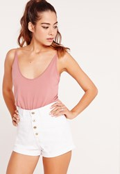 Missguided Button Front High Waisted Denim Shorts White