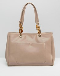 Asos Tote Bag With Statement Chunky Chain Detail Mink Brown