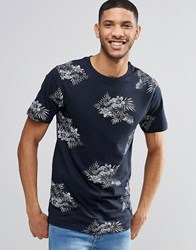 Pull And Bear Pullandbear T Shirt With Floral Print In Navy Navy