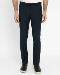 Scotch And Soda Navy Micro Patterned Wool Trousers Blue