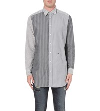 Diesel S Filter Striped Cotton Shirt Black