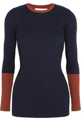 Victoria Beckham Two Tone Ribbed Wool Blend Sweater Navy