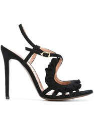 L'autre Chose Ruffle Detail Sandals Black
