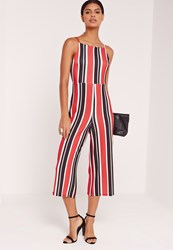 Missguided Striped Strappy Back Culotte Jumpsuit Red