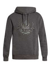 Dolce And Gabbana Crown Embroidered Hooded Sweatshirt Grey