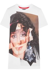 House Of Holland Cher Printed Cotton Jersey T Shirt White