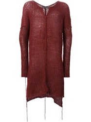 Cedric Jacquemyn Long Open Knit Sweater Red