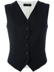 Dolce And Gabbana Contrast Stitched Trim Waistcoat Black