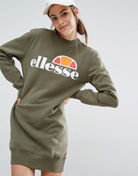 Ellesse Sweat Dress With Front Logo Dusty Olive Green