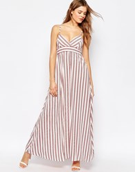 Traffic People Cami Maxi Dress In Stripe Red