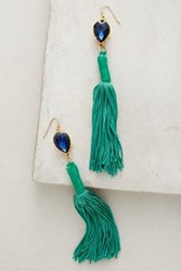 Anthropologie Josie Emerald Tassel Drops Green