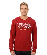 Life Is Good Go To Crew Neck Shirt Rich Red Men's Long Sleeve Pullover