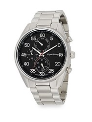 English Laundry Stainless Steel Chronograph Bracelet Watch Silver Black