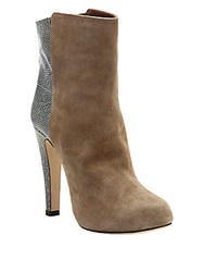 Malone Souliers Madleen Suede And Lizard Mid Calf Boots Mink